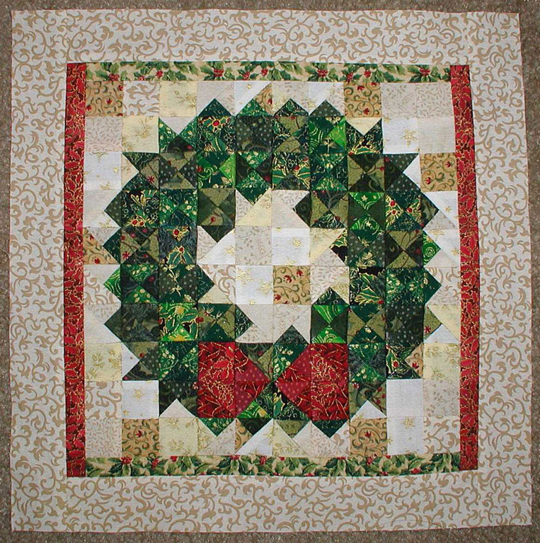Quilt Pattern For Christmas Wreath : Miniature Christmas Wreath Quilt Block